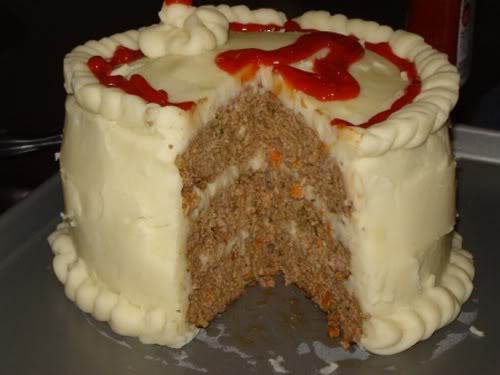 Meat cake with potato frosting